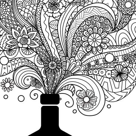 Botella De Champán Del Diseño Del Arte De Línea Para Colorear Para ...