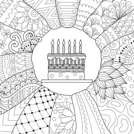 Line art design of Birthday cake for cards,invitation and coloring book page for adult.Vector illustration