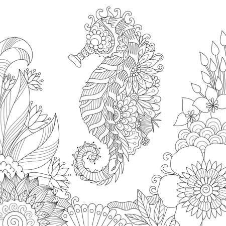 Hippocampe nageant dans le magnifique océan pour la page du livre de coloriage pour adultes. Banque d'images - 74154500