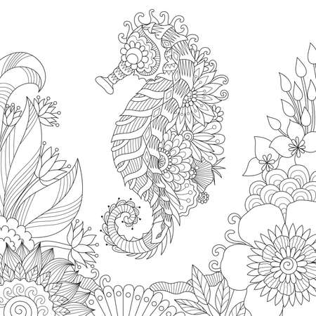 Seahorse swimming in beautiful ocean for adult coloring book page.