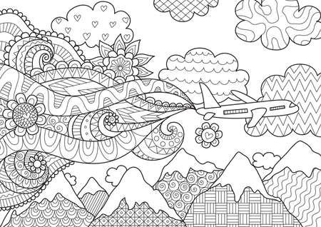 Zendoodle design of airplane flying over mountains for adult coloring book page. Illustration