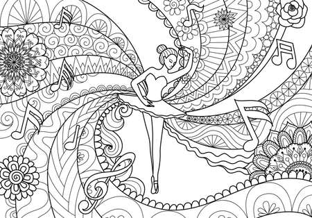 Zendoodle design of ballet dancer for adult coloring book pages. Stock Vector