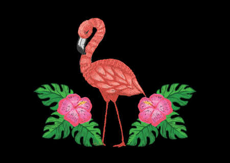 flamingo bird with tropical flowers and leaves embroidery design Illustration