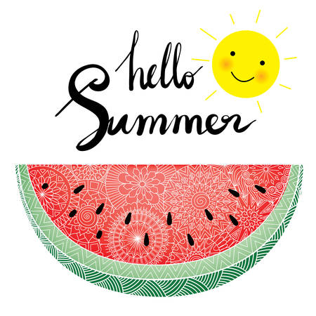 Hand lettering hello summer with cute smile sun and fresh zendoodle watermelon for design element Illustration