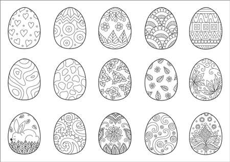 Zendoodle design of Easter eggs for adult coloring book page Illustration