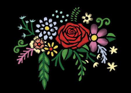 Wild flowers and red rose branch embroidery design. Stock Vector