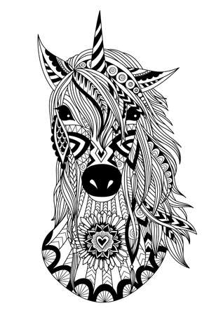 Zendoodle design of unicorn heard for t shirt design,design element, and adult coloring book page