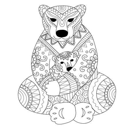 huggable: Polar bear mother cuddling her son in her arms zendoodle design for t - shirt design,card,adult coloring book page.. Vector illustration