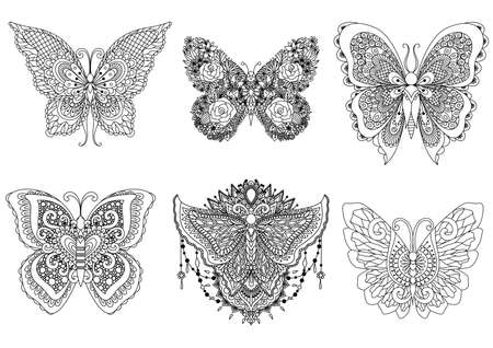 Six beautiful butterflies for design element and adult or kids coloring book page. Vector illustration