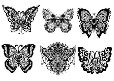 Zes mooie vlinders voor ontwerpelement en volwassene of kinder kleurboek pagina. Vector illustratie