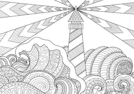 성인을위한 일러스트와 채색을위한 라이트 하우스와 아름다운 바다 물결의 라인 아트 디자인 일러스트