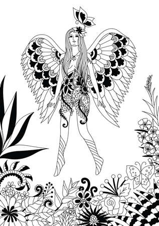 Beautiful fairy girl flying and playing with butterfly in wonderful jungle, design for adult and kids coloring book page. Vector illustration Illustration