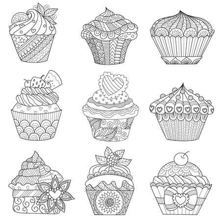 Zendoodleontwerp van cupcakes op witte achtergrond voor volwassen en jonge geitjes die boekpagina en ontwerpelement kleuren. Vector illustratie