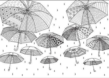 Flying umbrellas for illustration,background,design element,adult or kids coloring book page
