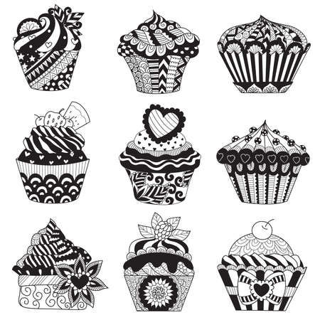 diecut: Zendoodle cupcakes set for design element and coloring book page