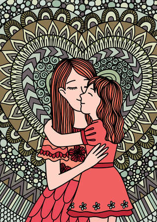 The mother kissing her daughter with love design for Cards,invitation and other design element. Vector illustration.