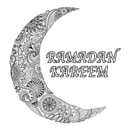 Line art design of flowers scrolling in half moon shape with the word RAMADAN KAREEM