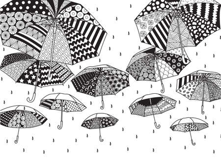 Zendoodle design of flying umbrella for design element and coloring book page for adult