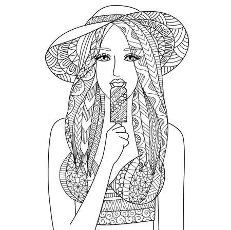 Zendoodle design of Sexy girl wearing hat eating ice cream. Happy Summer holiday. Vector illustration