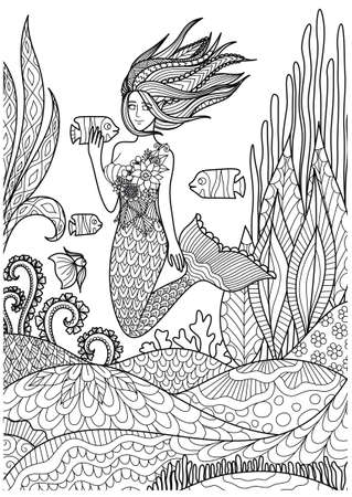 Beautiful mermaid playing with fish under the ocean with amazing corals design for adult coloring book pages. Vector illustration Ilustração