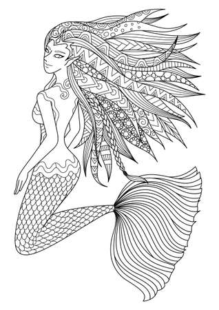 Beautiful mermaid swimming in the ocean design for adult coloring book page