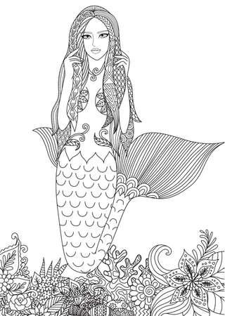 本ページを着色大人の素晴らしいサンゴの中で泳ぐ美しい人魚。ベクトル図  イラスト・ベクター素材