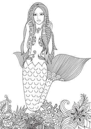 Beautiful mermaid swimming among amazing corals for adult coloring book page. Vector illustration