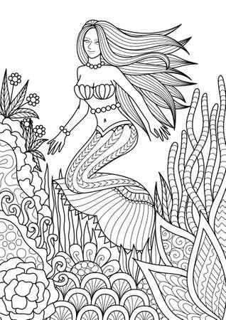 Hermosa Sirena Jugando Con Peces Lindos Para Página De Libro De ...
