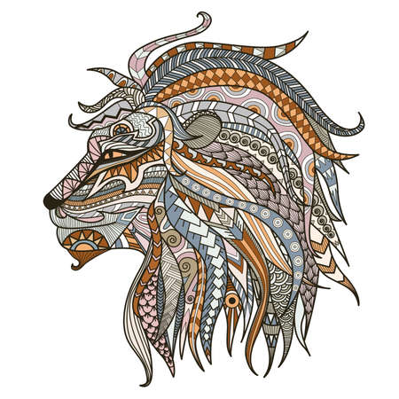 Patterned head of lion head on the white background. African,boho,indian,totem,tattoo design. Can be used for design of a t-shirt, tote bag, postcard,mug,poster and so on. Vector illustration