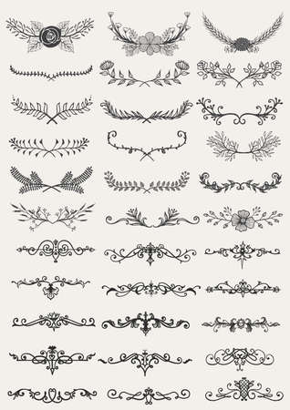 Vector collection of hand drawn borders in sketch style. Floral and abstract dividers for your design. Illustration