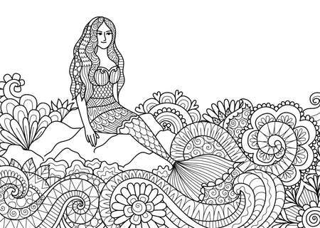 Pretty mermaid sitting on stone and beautiful ocean wave for adult coloring book page. Vector illustration