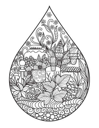 Apothecary bottles and herbs in the shape of water drop for illustration,logo, printing on product and adult coloring book. Healthy drinks, perfume,spa industrial concept. Stock Vector.