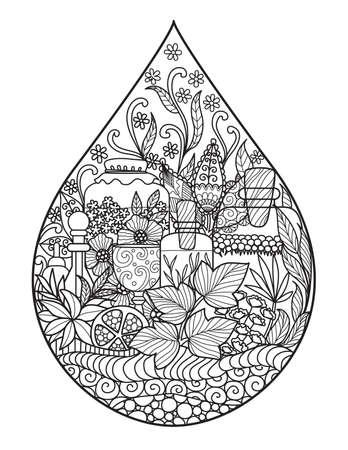 Apothecary 병 및 허브 그림, 로고, 제품 및 성인 색 책에 인쇄에 대 한 물 방울의 모양. 건강 음료, 향수, 스파 산업 개념. 주식 벡터입니다.
