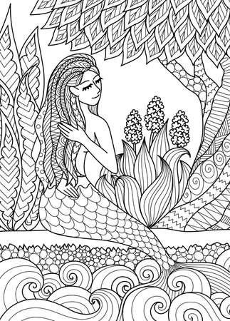De mooie meerminzitting door de rivier schikt haar haar, ontwerp voor volwassen kleurende boekpagina. Vector illustratie. Stock Illustratie