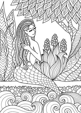 Pretty mermaid  sitting by the river arrange her hair, design for adult coloring book page. Vector illustration.