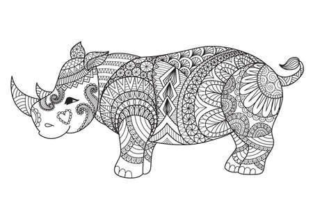 Tekening zintangle rhino voor kleurplaten, shirt ontwerp effect, logo, tattoo en decoratie. Stock Illustratie