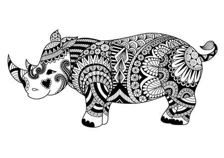 페이지, 셔츠 디자인 효과, 로고, 문신 및 장식을 채색하기위한 드로잉 zentangle rhino. 일러스트