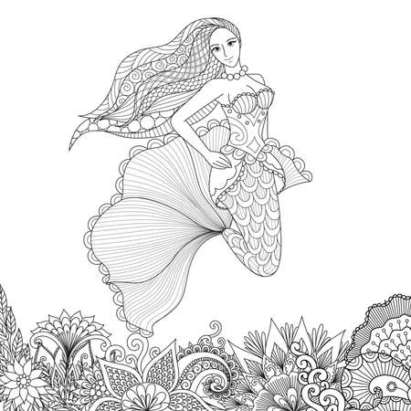 Fairy girl swimming above beautiful flowers, design for adult coloring book page. Vector illustration