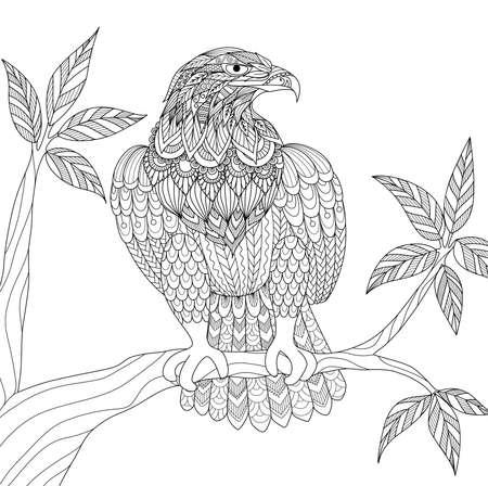Hand drawn tribal eagle sitting on tree branch