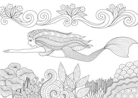 예쁜 인 어는 성인 및 아이 책 페이지를 색칠하는 것에 대 한 아름 다운 산호 위에서 수영. 벡터 일러스트 레이 션.