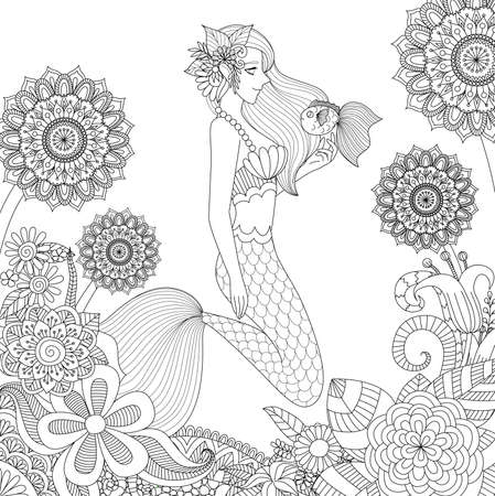 Beautiful mermaid playing with cute fish for adult coloring book page.