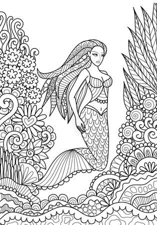 page long: Pretty mermaid swimming in the ocean for adult coloring book page. Vector illustration.