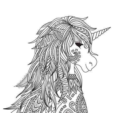 Zendoodle design of unicorn head for adult and kids coloring book page. Vector illustration