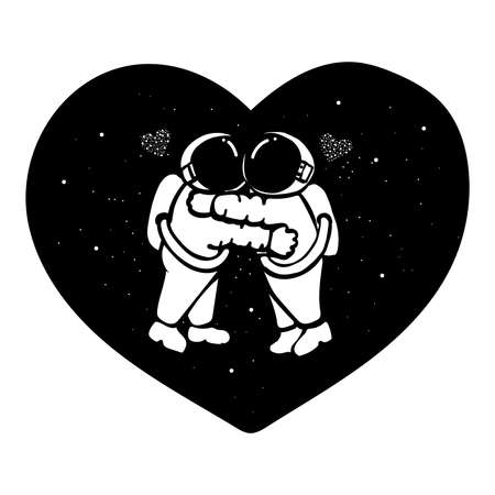 Hand drawn astronaut couple hugging in the space with stars form in hearted shape for t shirt design, design element and wedding card. 向量圖像
