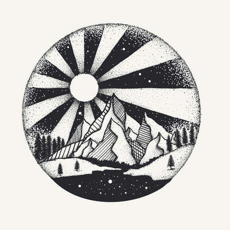 Hand drawn dots work of full moon above monuntains and river for design element. Vector illustration Illustration