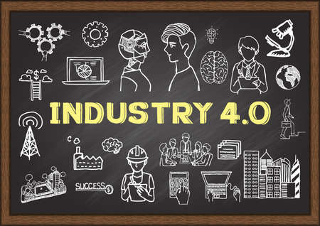 Hand drawn illustrations about industry 4.0 on chalkboard