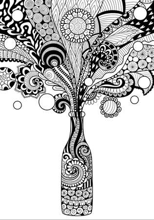 Zendoodle design of beer bottle for design element and adult or kids coloring book page. Vector illustration