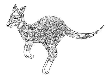 Zendoodle-ontwerp van springende kangoeroe voor ontwerpelement en volwassene of jongen kleurboekpagina. Vector illustratie