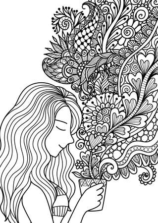 Het mooie meisje ruikt de bloemenkoffierook voor ontwerpelement en volwassen of jonge geitjes die boekpagina's kleuren. Vector illustratie.