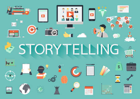 The word STORYTELLING with ling shadow surrounded by concerning flat icons. Vector illustration Illustration